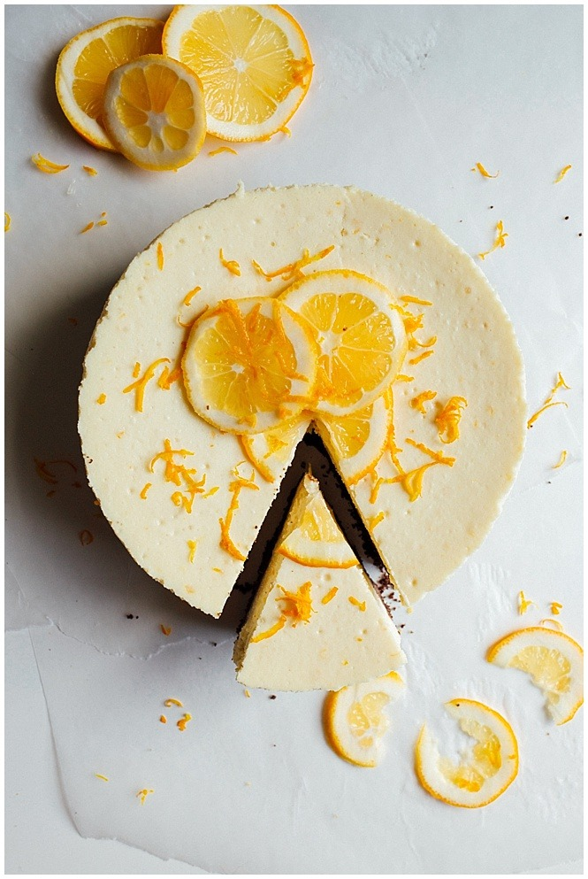 Blackberry Farm for Meyer Lemon Cheesecake Post Recipe by the wood and spoon blog by kate wood blogger. this is a simple citrus cheesecake with a chocolate black bottom and homemade chocolate cookie crust made without Oreo's. Follow the instructions perfectly to get a cheesecake with a flat, smooth top without cracks every time. Drizzle with extra chocolate sauce or top with Meyer lemon slices for decoration. This is what to do with you Meyer lemons! Find the recipe for this easy cheesecake prepared with a water bath in a springform pan on thewoodandspoon.com