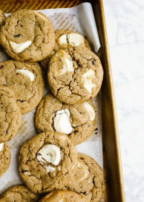 Espresso White Chocolate Chunk Cookies by Wood and Spoon. These are chewy coffee-scented cookies loaded with big chunks of sweet white chocolate. The cookies are simple to put together, freeze well, and make a great dessert option for coffee and chocolate lovers alike. Learn how to make this simple cookie recipe on thewoodandspoon.com